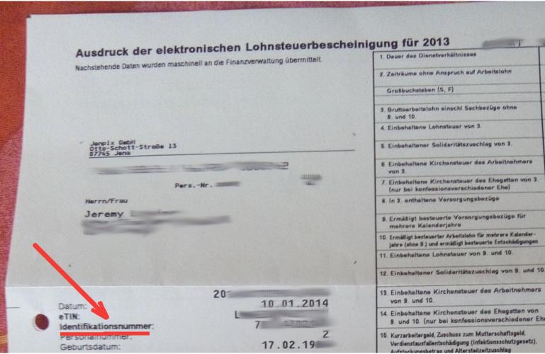 numero identification usdruck der elektronischen Lohnsteuerbescheinigung