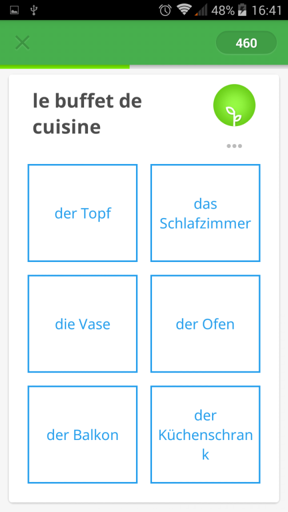 Memrise exercice d'allemand