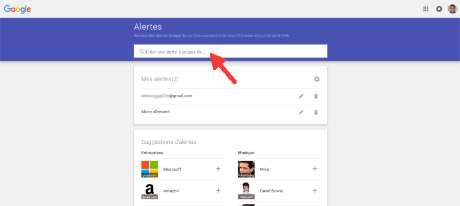 créer une alerte google