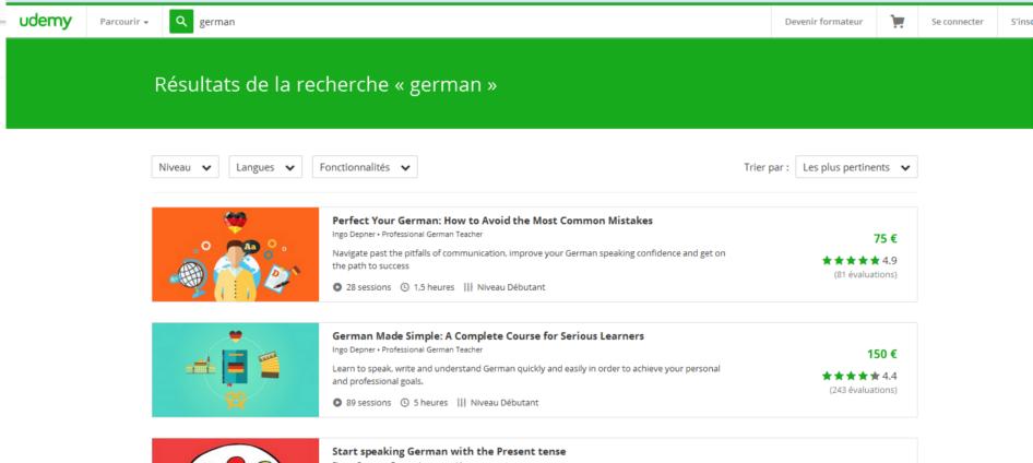 udemy - cours en ligne pour apprendre l'Allemand