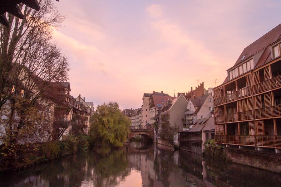 couché soleil rivière de nuremberg