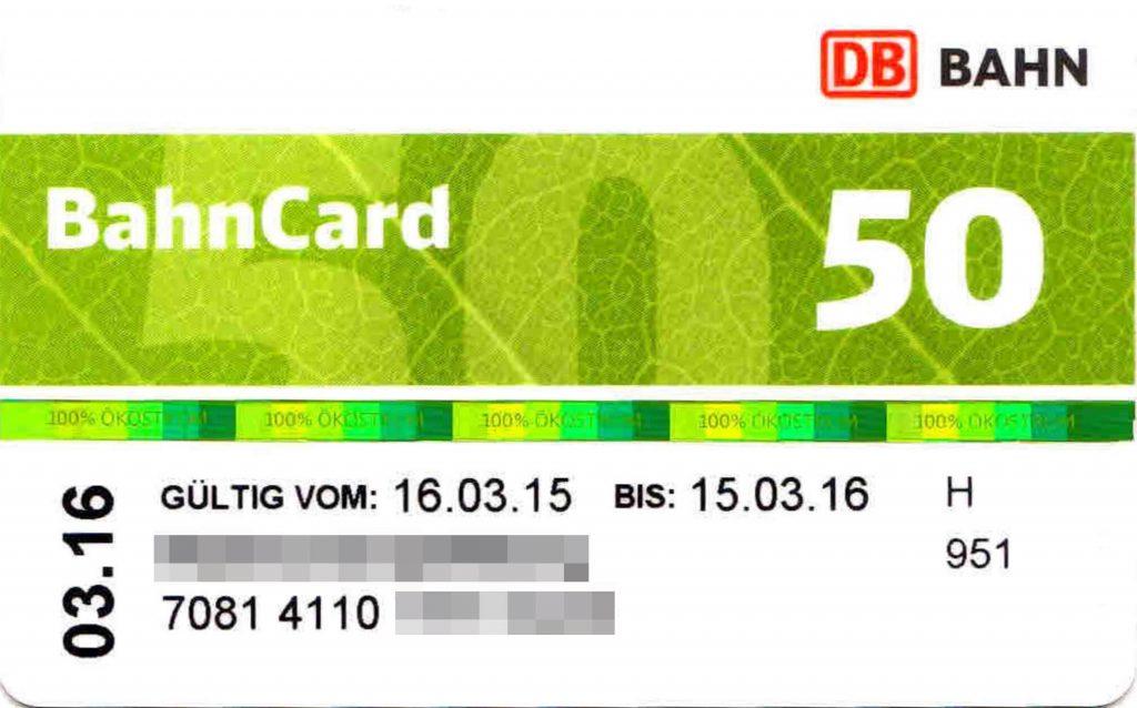 Une Bahncard50 de la Deutsche Bahn