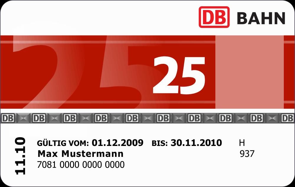 une bahncard25 de la Deutsche Bahn