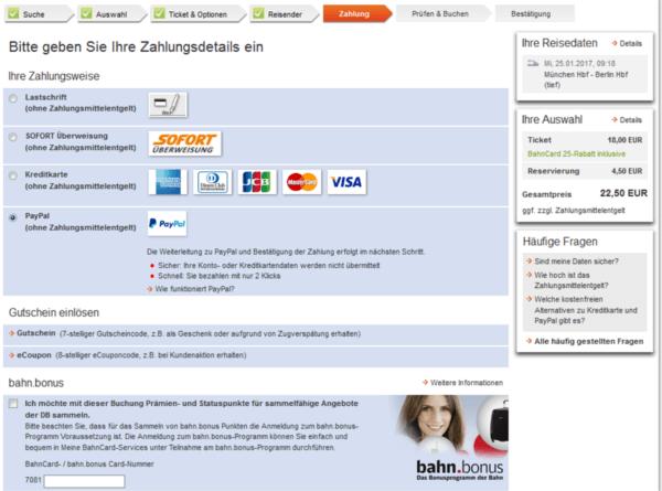 mode de paiement sur le site de la Deutsche Bahn