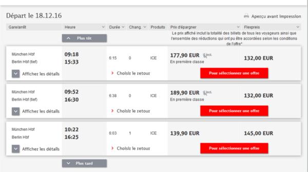 prix du train en Allemagne