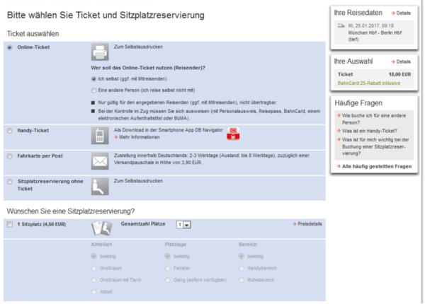 réservation de siège train Allemand