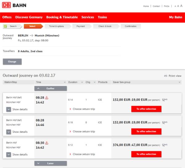ticket de groupe Deutsche Bahn
