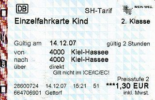 un billet de train allemand