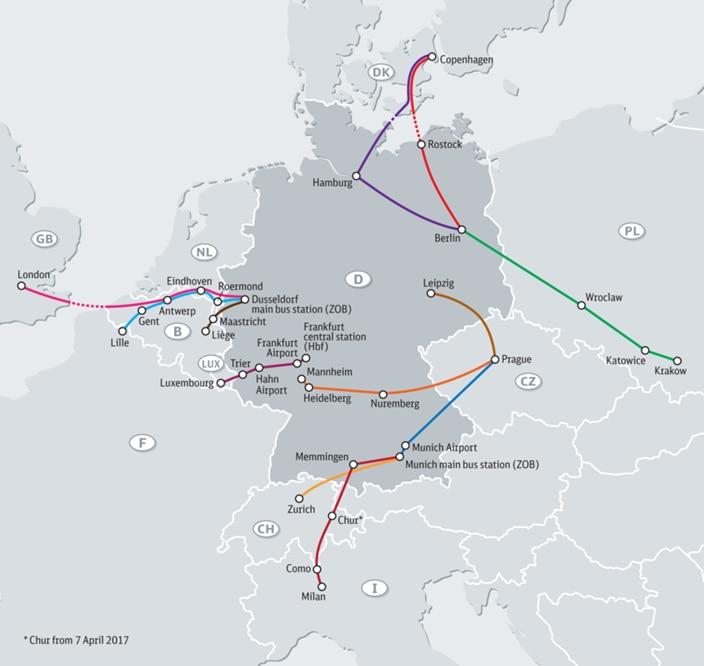 bus internationaux à partir de l'Allemagne