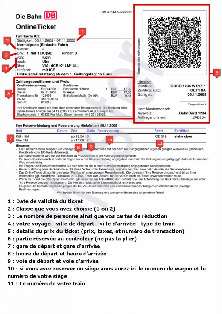 exemple de ticket de train allemand traduit