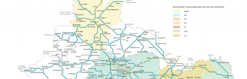cartes des lignes de trains régionaux Allemagne