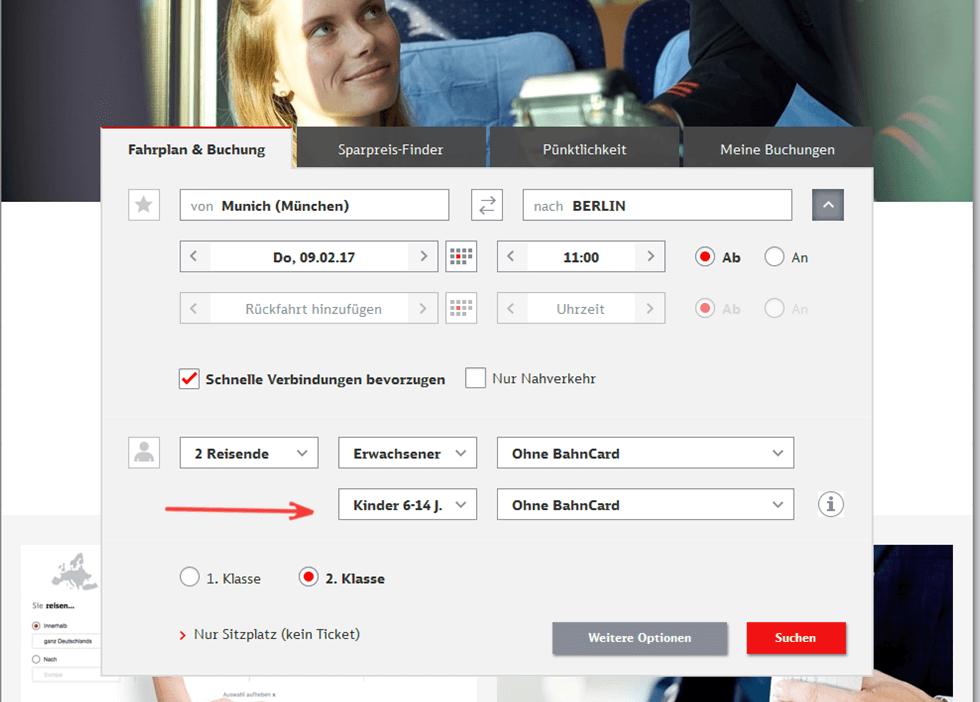 Deutsche Bahn ticket enfant