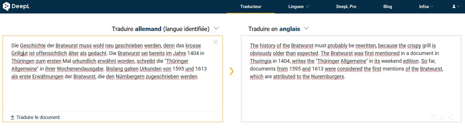 DeepL comparaison de traducteur