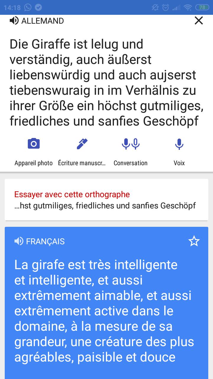 Une traduction Allemand-Français avec Google image