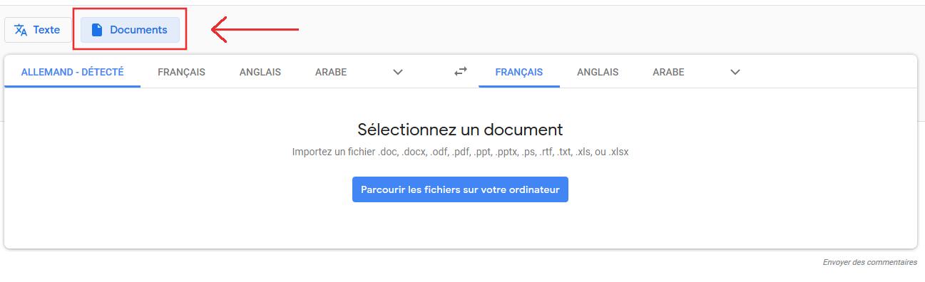 traduction de documents entiers avec Google