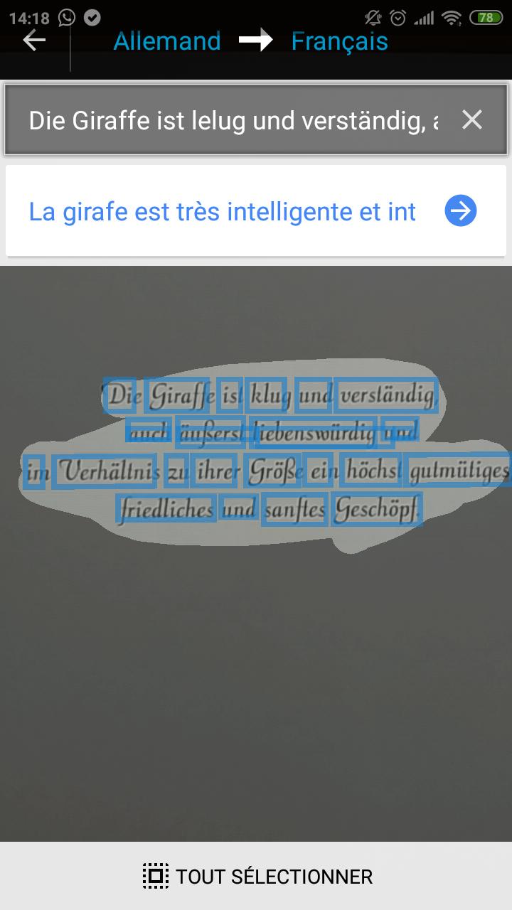 Choix du texte lors d'une traduction d'image avec Google