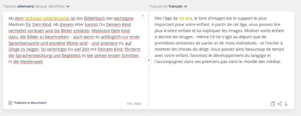 Faute lors d'une traduction de l'allemand vers le français
